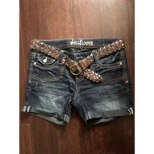 Denim Shorts with Sparkle Belt✨